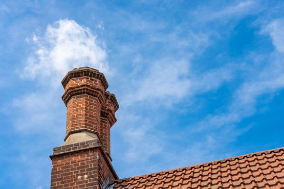 Pair of chimneys made from old brick